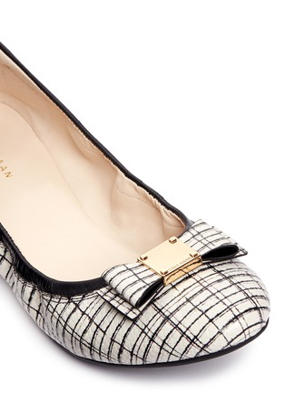 Detail View - Click To Enlarge - Cole Haan - 'Tali Bow Ballet' stripe print embossed leather flats