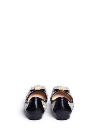 Back View - Click To Enlarge - Cole Haan - 'Tali Bow Ballet' stripe print embossed leather flats