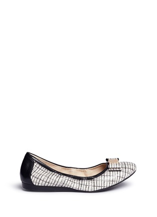 Main View - Click To Enlarge - Cole Haan - 'Tali Bow Ballet' stripe print embossed leather flats