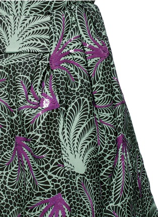 Detail View - Click To Enlarge - Dries Van Noten - ''Sar' sequin embellished leaf print drape bow belt