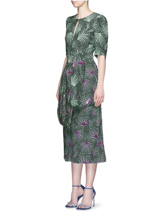 Figure View - Click To Enlarge - Dries Van Noten - ''Sar' sequin embellished leaf print drape bow belt