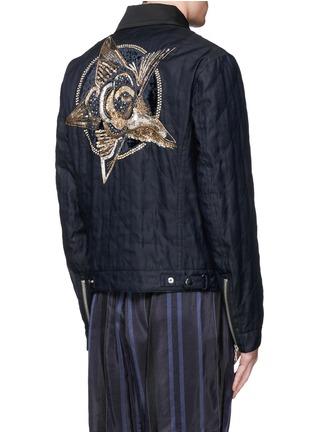 Back View - Click To Enlarge - Dries Van Noten - 'Vale' embellished cotton biker jacket