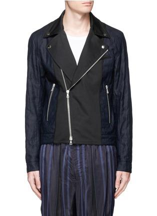 Main View - Click To Enlarge - Dries Van Noten - 'Vale' embellished cotton biker jacket