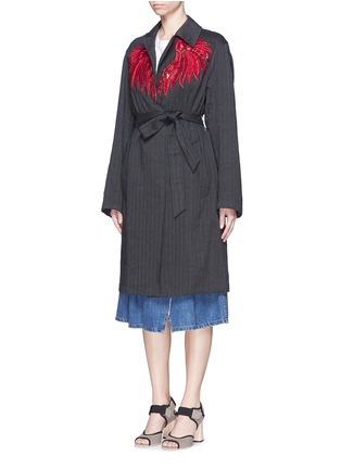 Front View - Click To Enlarge - Dries Van Noten - 'Reed' fan embroidery cotton-linen blazer