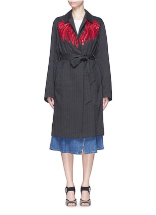 Main View - Click To Enlarge - Dries Van Noten - 'Reed' fan embroidery cotton-linen blazer