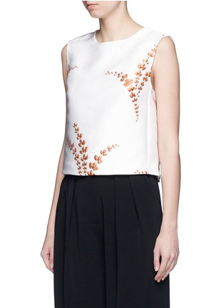 Front View - Click To Enlarge - Dries Van Noten - 'Caitlin' metallic floral jacquard sleeveless top
