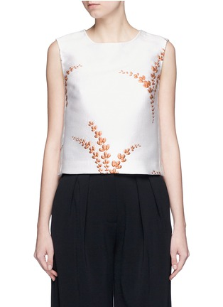 Main View - Click To Enlarge - Dries Van Noten - 'Caitlin' metallic floral jacquard sleeveless top