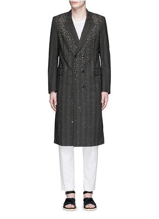 DRIES VAN NOTEN-仿水晶格纹羊毛大衣