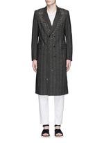 仿水晶格纹羊毛大衣