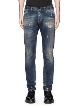 Detail View - Click To Enlarge - Dolce & Gabbana - 'Gold 14' distressed jeans