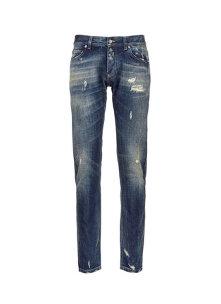 Main View - Click To Enlarge - Dolce & Gabbana - 'Gold 14' distressed jeans