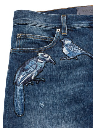 - Dolce & Gabbana - 'Gold 14' bird patch embroidery jeans