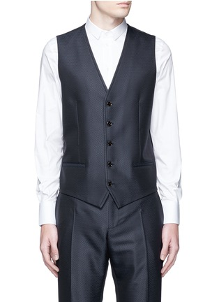 Detail View - Click To Enlarge - Dolce & Gabbana - Zigzag jacquard wool-silk satin three-piece tuxedo suit