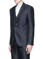 Zigzag jacquard wool-silk satin three-piece tuxedo suit