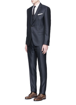 Figure View - Click To Enlarge - Dolce & Gabbana - Zigzag jacquard wool-silk satin three-piece tuxedo suit
