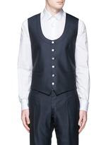 Diamond jacquard wool-silk three piece tuxedo suit