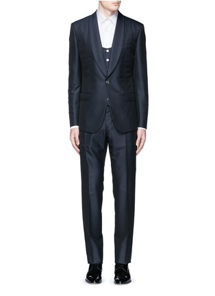 Main View - Click To Enlarge - Dolce & Gabbana - Diamond jacquard wool-silk three piece tuxedo suit