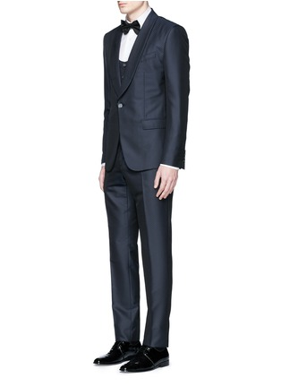 Figure View - Click To Enlarge - Dolce & Gabbana - Diamond jacquard wool-silk three piece tuxedo suit