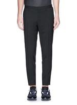 Velvet trim slim fit stretch wool pants