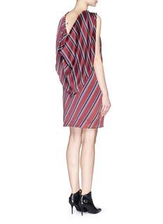 MO&CO. EDITION 10Regimental stripe drape chain back silk dress
