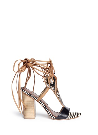 Main View - Click To Enlarge - Sam Edelman - 'Yates' beaded calf hair leather sandals