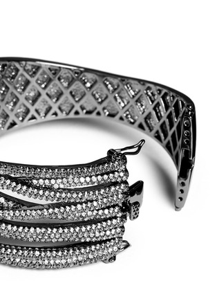 Detail View - Click To Enlarge - CZ by Kenneth Jay Lane - Cubic zirconia pavé criscross cuff