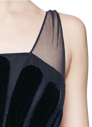 Detail View - Click To Enlarge - Valentino - Stripe appliqué mesh tulle gown