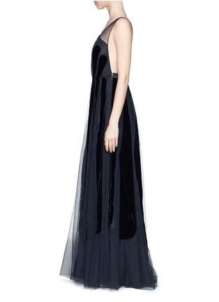 - Valentino - Stripe appliqué mesh tulle gown