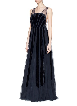 Front View - Click To Enlarge - Valentino - Stripe appliqué mesh tulle gown