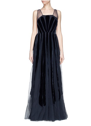 Main View - Click To Enlarge - Valentino - Stripe appliqué mesh tulle gown
