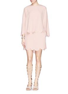 ValentinoScalloped silk cape dress