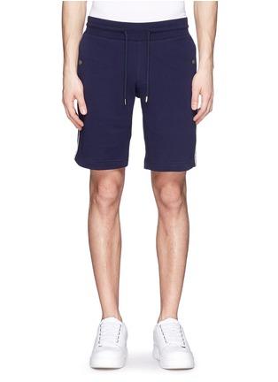 首图 - 点击放大 - MONCLER - 条纹拼贴纯棉休闲短裤