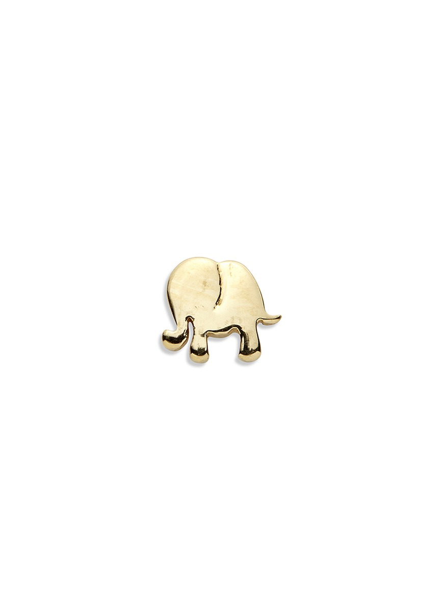 LOQUET LONDON 14k yellow gold elephant single earring - Happiness