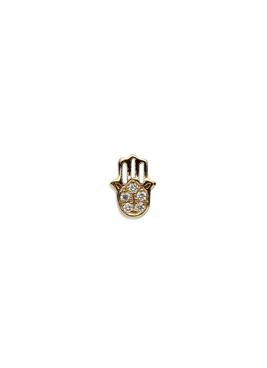 LOQUET LONDON 18k yellow gold diamond Hand of Fatima charm - Have Faith