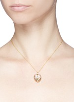 18k yellow gold diamond linked hearts charm - Always Together