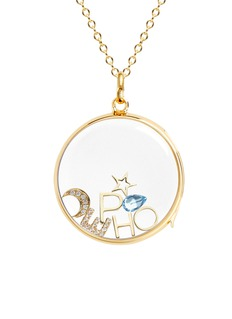 Loquet London 18k yellow gold diamond moon charm - Intuition