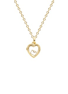 Loquet London 14k yellow gold rock crystal heart locket - Small 12mm