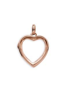 LOQUET LONDON14k rose gold rock crystal heart locket - Medium 18mm