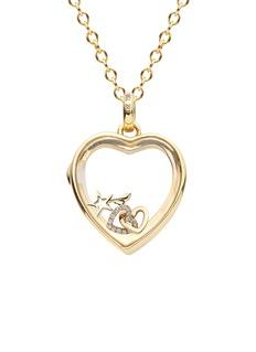 Loquet London 14k yellow gold rock crystal heart locket - Medium 18mm