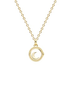 Loquet London 14k yellow gold rock crystal round locket - Small 12mm