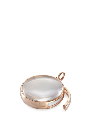 Loquet London - 14k rose gold rock crystal round locket - Large 22mm