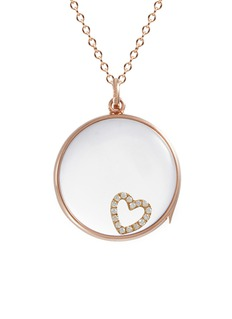 Loquet London 14k rose gold rock crystal round locket – Large 22mm