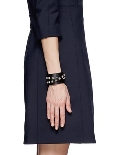 VALENTINO Rockstud double wrap leather bracelet
