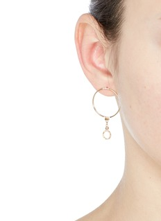 Xiao Wang'Gravity' diamond 14k yellow gold hoop earrings