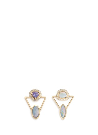 Main View - Click To Enlarge - Xiao Wang - 'Galaxy' diamond opal stone 18k gold earrings