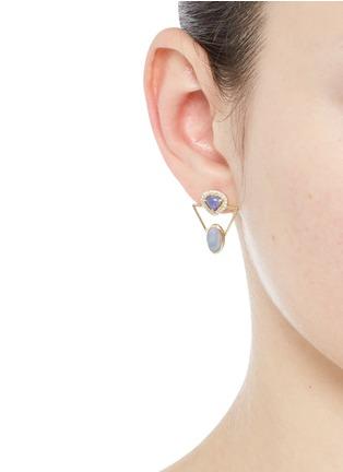 Figure View - Click To Enlarge - Xiao Wang - 'Galaxy' diamond opal stone 18k gold earrings