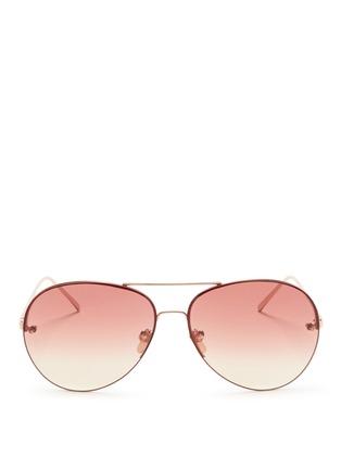 Main View - Click To Enlarge - Linda Farrow - Top rim metal aviator sunglasses