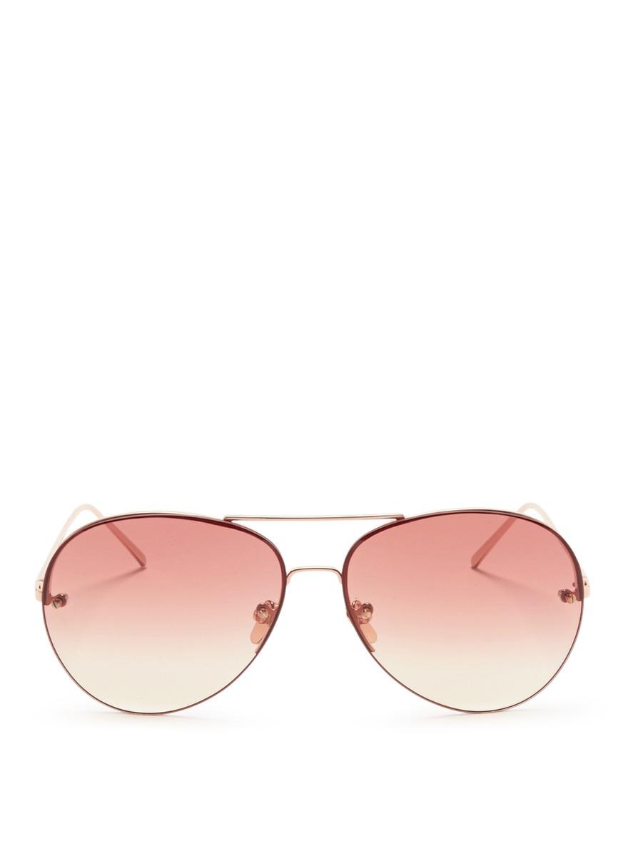 Top rim metal aviator sunglasses by Linda Farrow