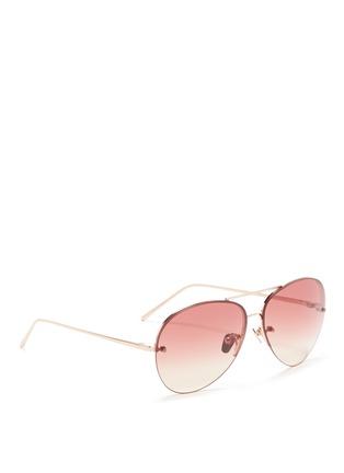 Figure View - Click To Enlarge - Linda Farrow - Top rim metal aviator sunglasses