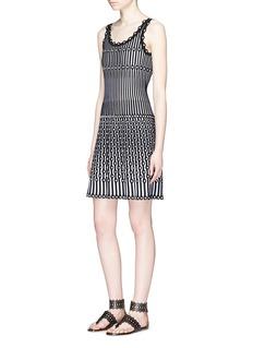 Alaïa 'Carillon' dot stripe sleeveless knit dress